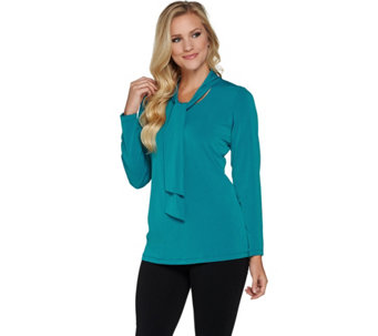 Susan Graver Liquid Knit Long Sleeve Top with Ties - A282899