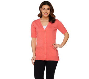 """As Is"" Isaac Mizrahi Live! Essentials Elbow Sleeve Cardigan - A284499"