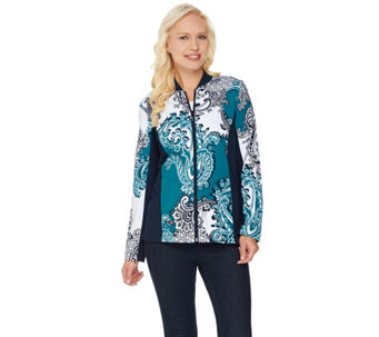 Susan Graver Weekend Printed French Terry Zip Front Jacket - A284799