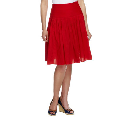 """As Is"" G.I.L.I. Petite A-Line Skirt with Pleating Details"