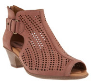 Earth Nubuck Perforated Peep-toe Booties - Keri