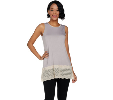 LOGO Layers by Lori Goldstein Solid Tank with Scalloped Lace Details