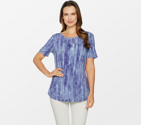Lisa Rinna Collection Printed Knit Top with Back Detail