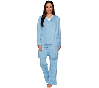 """As Is"" Carole Hochman Rose Bud Interlock 3-Pc Pajama Set with Lace Trim - A292399"