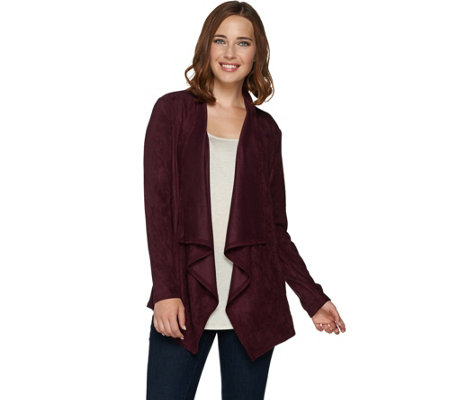 """As Is"" LOGO by Lori Goldstein Faux Suede Draped Front Cardigan"