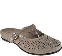 Vionic Orthotic Perforated Suede Mules - Lidia - A293699