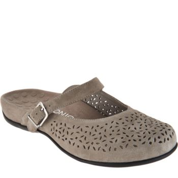 Vionic Orthotic Perforated Suede Mules - Lidia