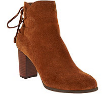 Vionic Orthotic Suede Ankle Boots with Tie Detail - Ronnie - A293799
