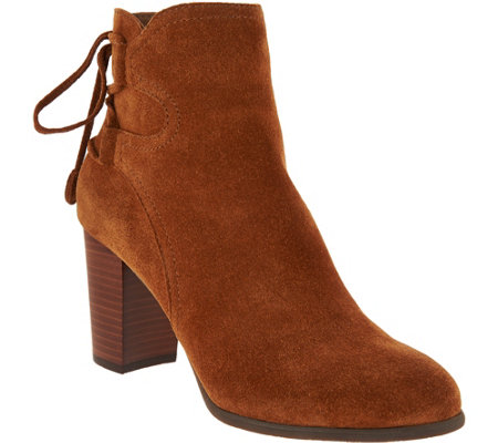 Vionic Orthotic Suede Ankle Boots with Tie Detail - Ronnie