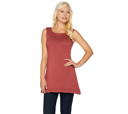 """As Is"" LOGO Layers by Lori Goldstein Knit Tank with Ruffle Hem"