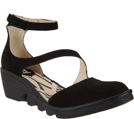 """As Is"" FLY London Leather Closed Toe Wedges - Plan"