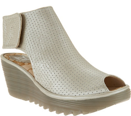"""As Is"" FLY London Leather Perforated Peep-toe Wedges - Yahl"
