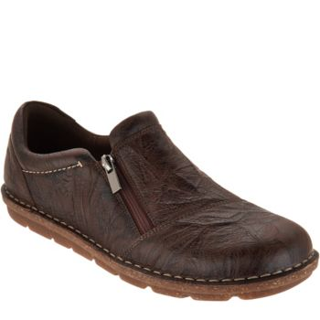 Clarks Leather Slip on Shoes with Side Zip- Tamitha Cattura