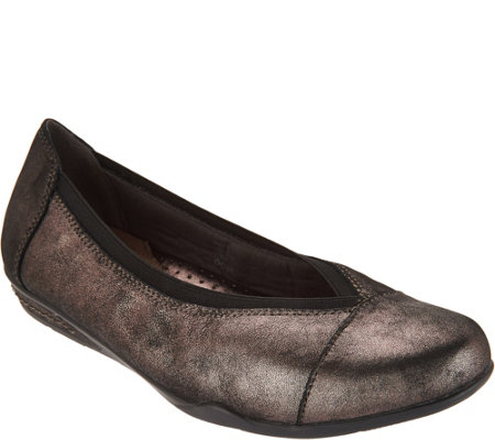 Earth Leather or Suede Slip-on Flats - Mara