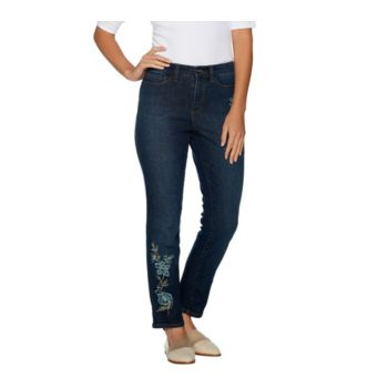 Studio by Denim & Co. Embroidered Stretch Ankle Jeans