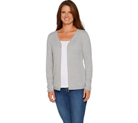 Belle by Kim Gravel Goldtone Zip Ribbed Knit Sweater