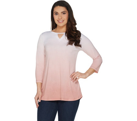 Belle by Kim Gravel Dip Dye 3/4 Sleeve Top