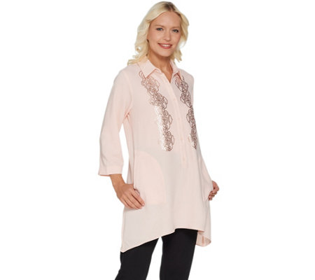Linea by Louis Dell'Olio Gauze Crepe Swing Shirt w/ Sequin Embellishments