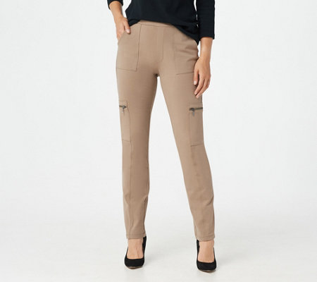 """As Is"" Susan Graver Weekend Premium Stretch Pull-On Cargo Pants"