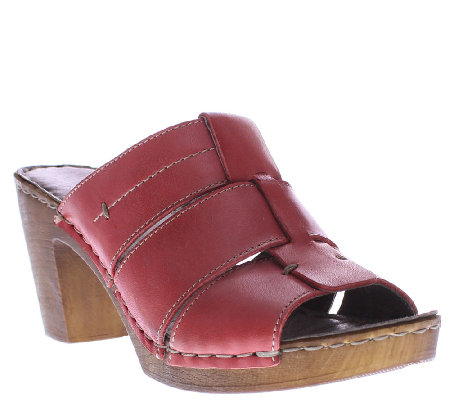 Spring Step Leather Slide Sandals - Bayberry
