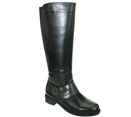 David Tate Wide Calf Leather Boots - Highland