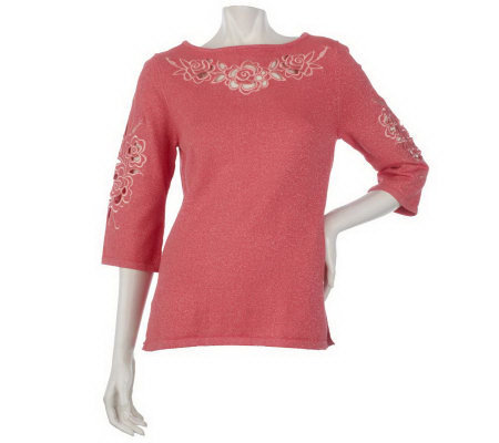 Bob Mackie's Floral Cut-out Embroidered Metallic Tunic Sweater