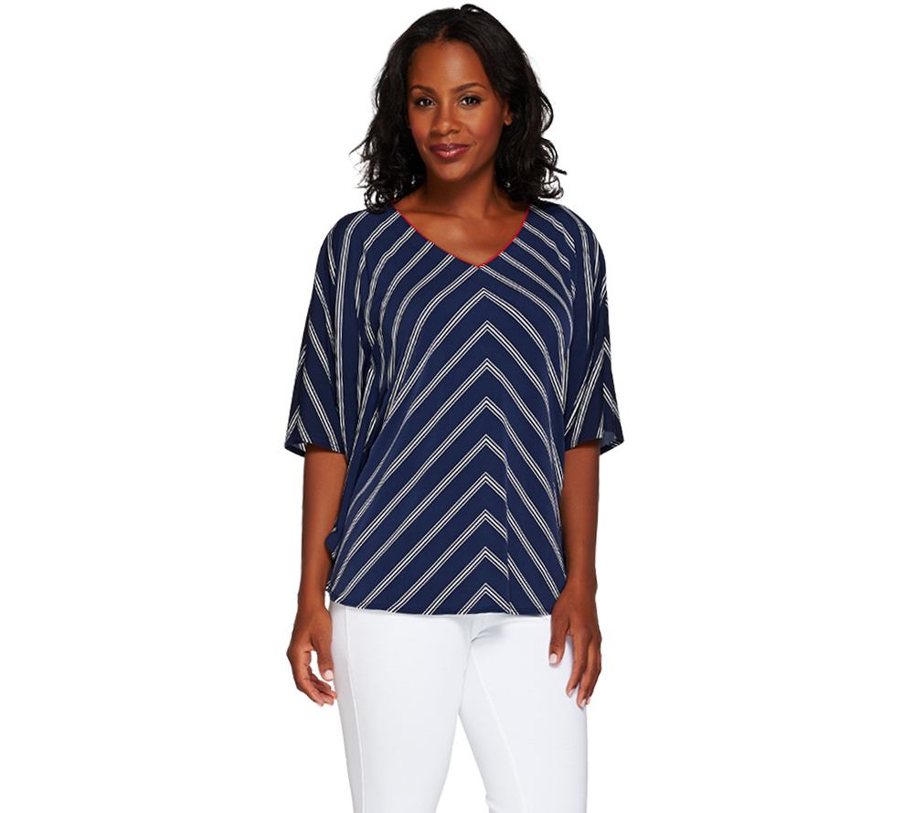 Susan Graver Striped Liquid Knit V Neck Scarf Top by Qvc
