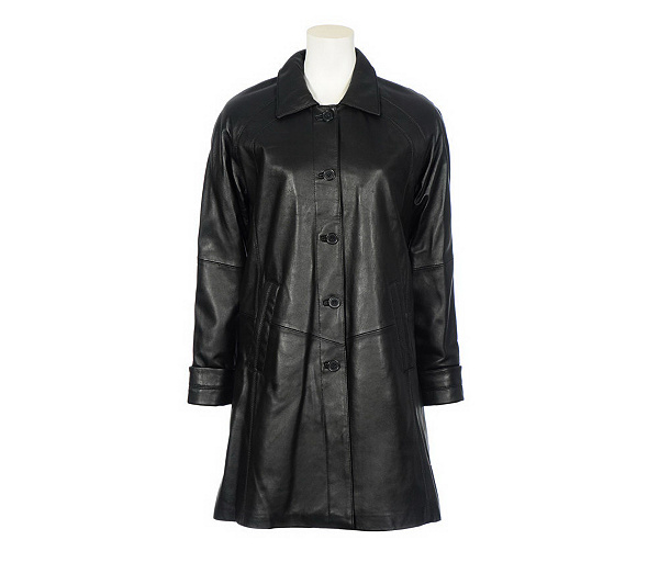 Excelled Lamb Leather Swing Coat — QVC.com