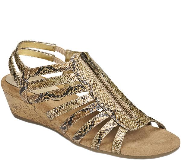 Womens Sandals Aerosoles Yetaway Tan/Gold
