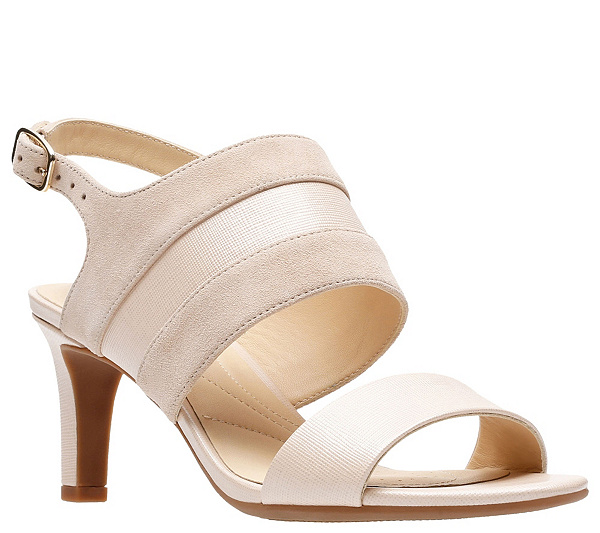 maíz Retocar Mal  Clarks Artisan Leather Mid-Heel Sandals - Laureti Joy — QVC.com