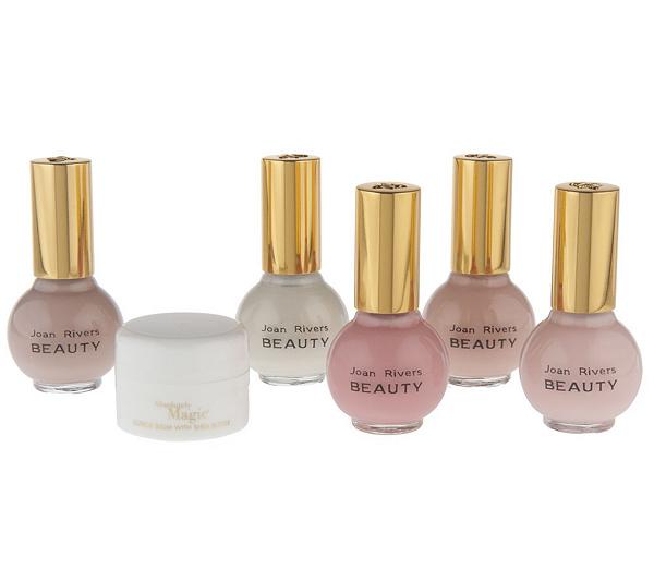 Joan Rivers Beauty Set of 5 Sheer Bliss Nail Polishes w/Cuticle Balm ...