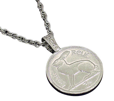 Lucky Rabbit/Irish 3-Pence Coin Pendant