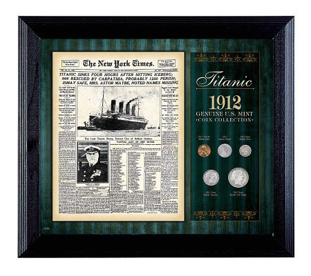 New York Times Titanic 1912  Collection Framed- 5 Coins