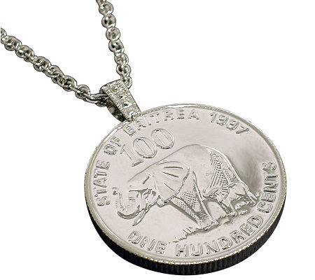 Lucky Elephant Coin Pendant and Chain