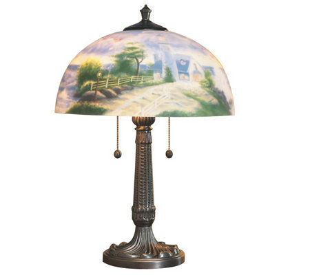"Thomas Kinkade ""A Light in the Storm"" Ltd. Ed. Reverse Painted Lamp"