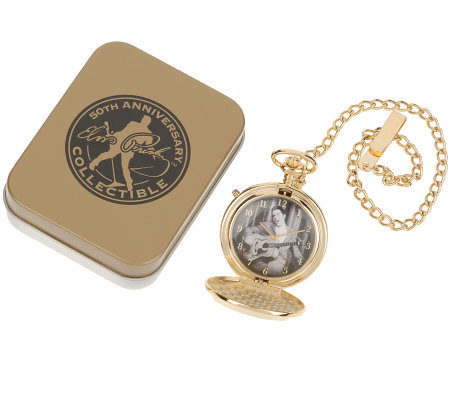 Elvis Presley 50thAnniversary Hound Dog Pocket Watch With Tin