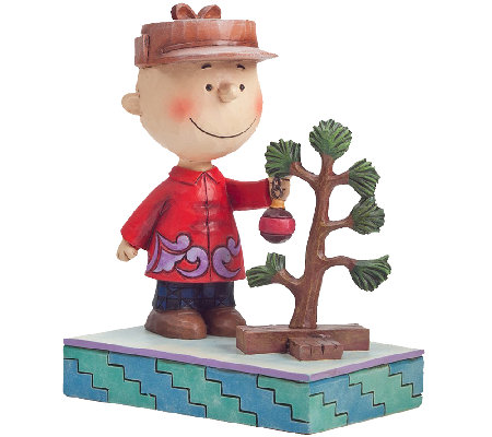 Jim Shore Peanuts Charlie Brown with Christmas Tree
