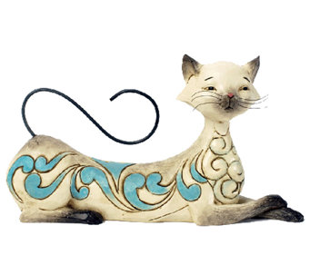 Jim Shore Heartwood Creek Lying Siamese Cat Figurine - C214015