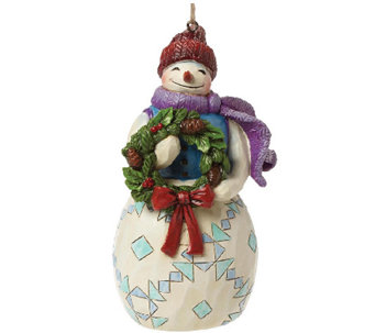 Jim Shore Heartwood Creek Snowman with Wreath Ornament - C214115