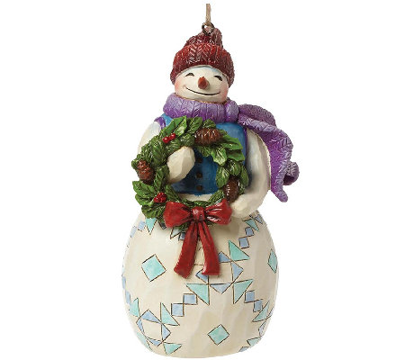 Jim Shore Heartwood Creek Snowman with Wreath Ornament