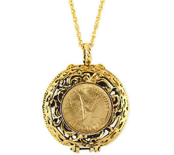 Mustard Seed Locket Angel Coin Pendant - C213719