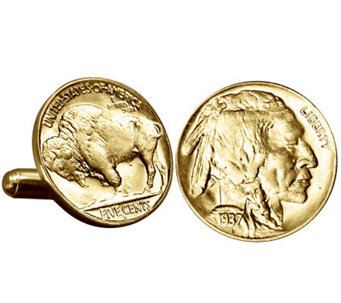 Gold-Layered Buffalo Nickel Cuff Links - C213721