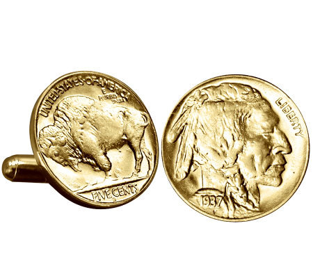 Gold-Layered Buffalo Nickel Cuff Links