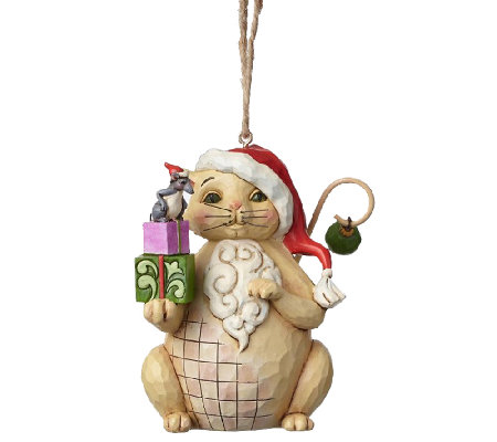 Jim Shore Heartwood Creek Christmas Cat with Gifts Ornament