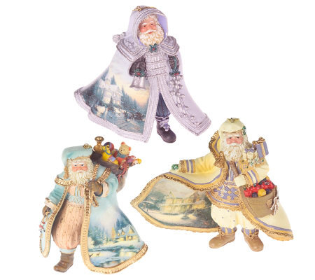 Thomas Kinkade Set of 3 Old World Santa Resin Ornaments