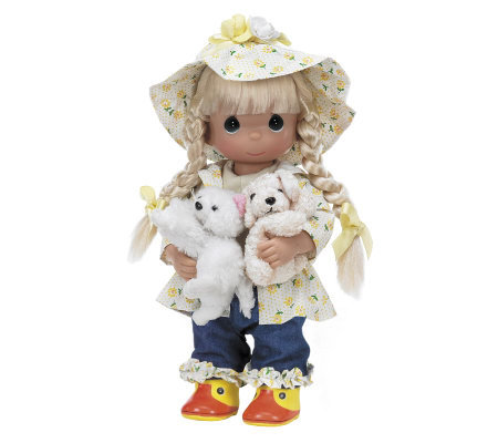 Precious Moments Raining Cats and Dogs Animal Lover Doll