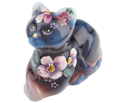 Fenton Art Glass Plum Opalescent Perky Cat Figurine