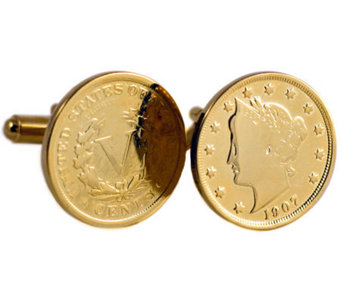 Gold-Layered Liberty Nickel Cuff Links - C213725