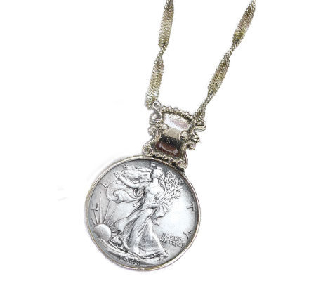 Silver Walking Liberty Half-Dollar in Silvertone Bezel