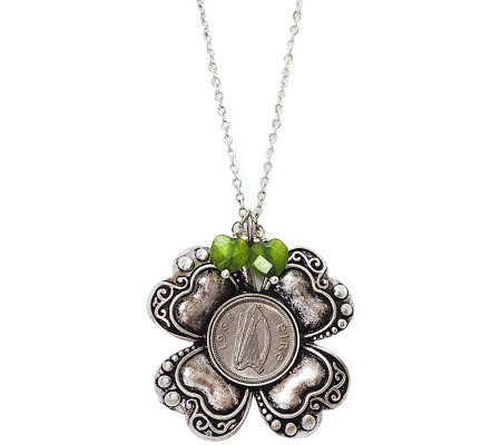 Irish Three Pence Four Leaf Clover & Green Hear t Charm Pendan